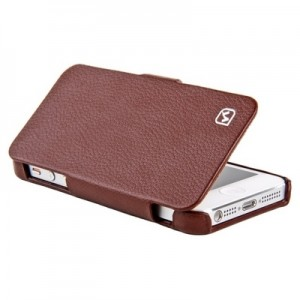 Folder Leather Case Black for iPhone 5|5S Brown