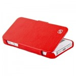 Folder Leather Case Black for iPhone 5|5S Red
